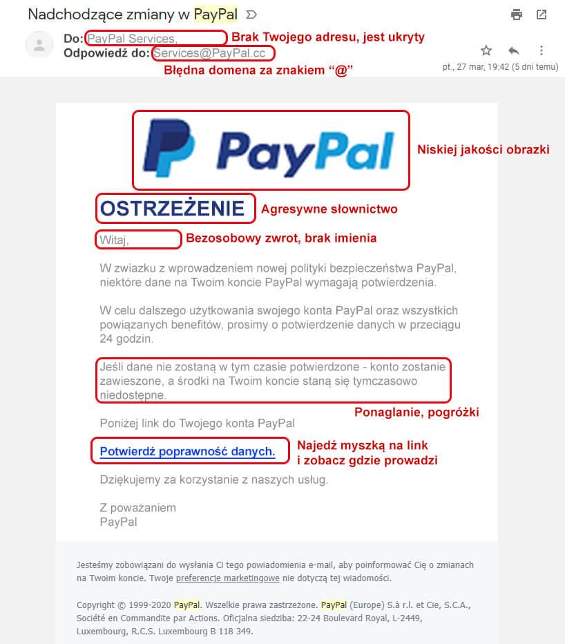 Przykładowy email-phishing