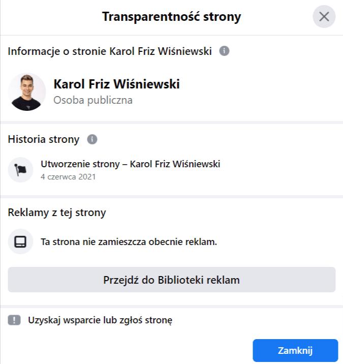 Zrzut ekranu przedstawiający transparentność fałszywego profilu Karol Friz Wiśniewski.