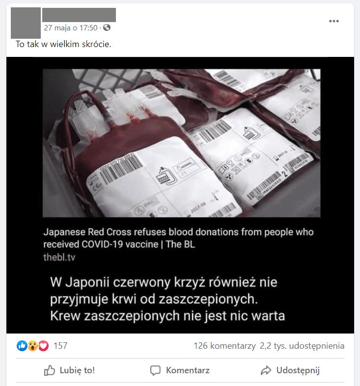 """Zrzut ekranu zFacebooka. Nagrafice widzimy pojemniki zkrwią. Czytamy także m.in.: """"W Japonii czerwony krzyż nie przyjmuje krwi od zaszczepionych. Krew zaszczepionych nie jest nic warta""""."""