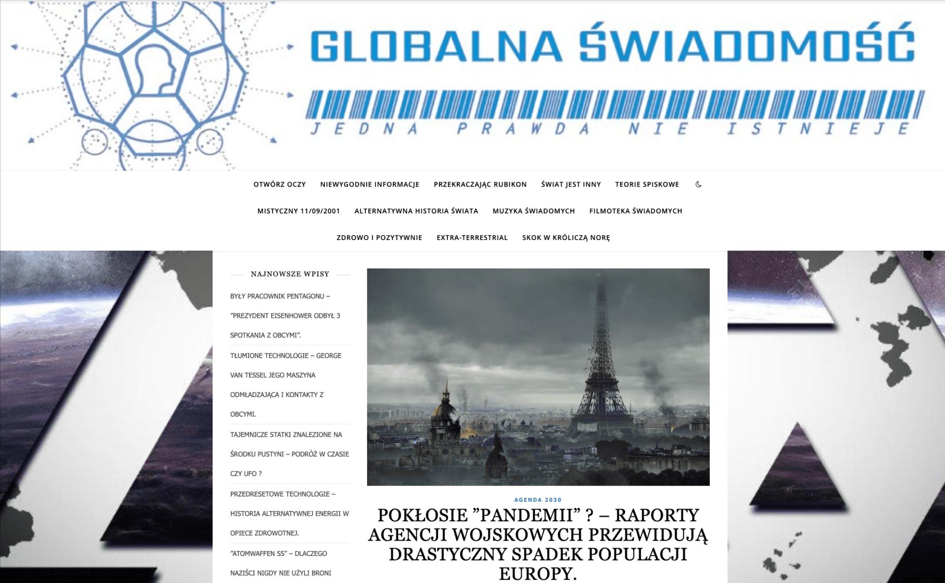 Zrzut ekranu ze strony portalu Globalna Świadomość, naktórym widać tytuł artykułu. Nazdjęciu dołączonym doartykułu jest grafika zpanoramą Paryża, nadmiastem unoszą się czarne chmury, płoną historyczne budowle, m.in. wieża Eiffela.