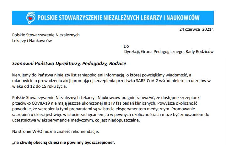 Zrzut ekranu zpoczątkiem omawianego listu. Nagórze widnieje baner logiem Stowarzyszenia nabłękitnym tle.