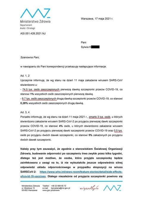 Pismo Ministerstwa Zdrowia, wktórym zamieszczono dane omawiane wniniejszym tekście.