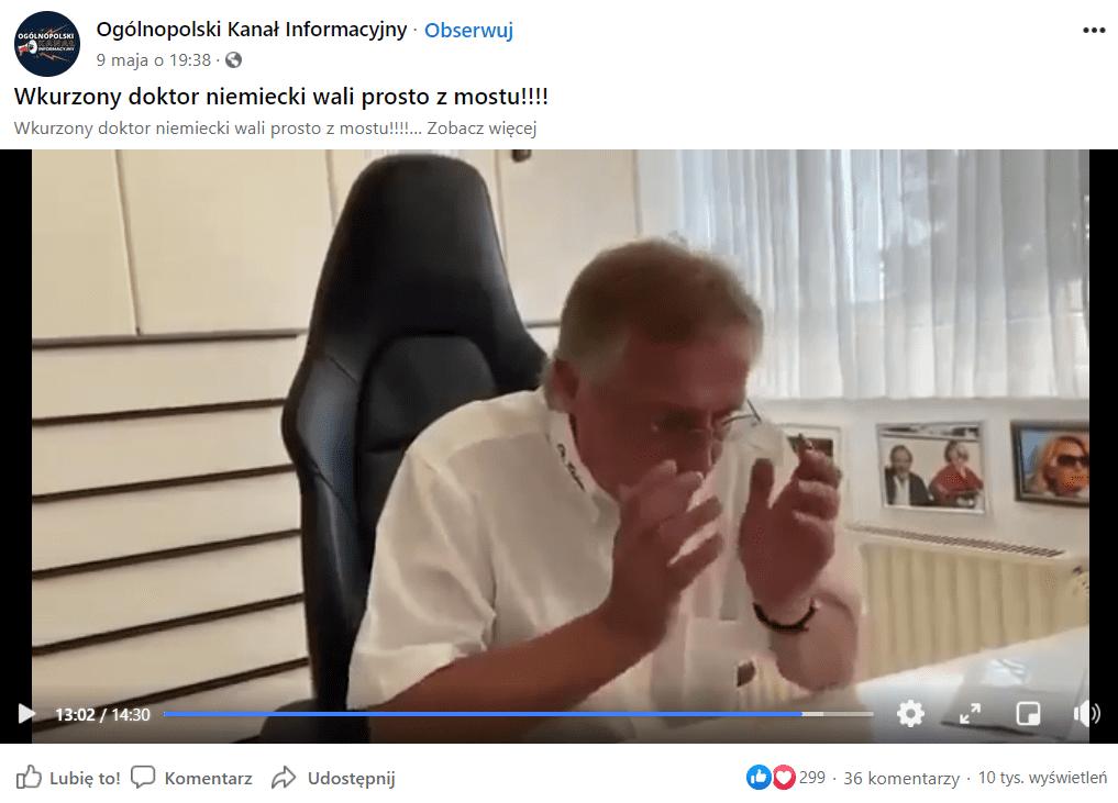 Zrzut ekranu wpisu naFacebooku zdołączonym filmem. Nastopklatce widać rozemocjonowanego lekarza Urlicha, który przemawia doswoich widzów sprzed kamery przyswoim biurku wbiurze.