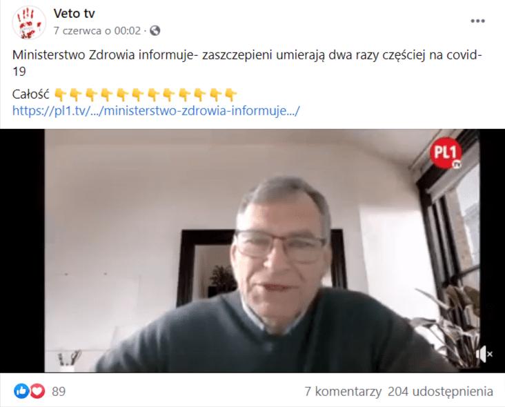 Wpis naFacebooku naprofilu Veto tv zdołączonym nagraniem, które udostępniło ponad 200 osób. Nastopklatce nagrania widoczny jest lekarz Piotr Rossudowski. Mężczyzna przebywa wjasnym pomieszczeniu isprzed kamery swojego urządzenia przemawia doprezenterki prowadzącej wywiad.