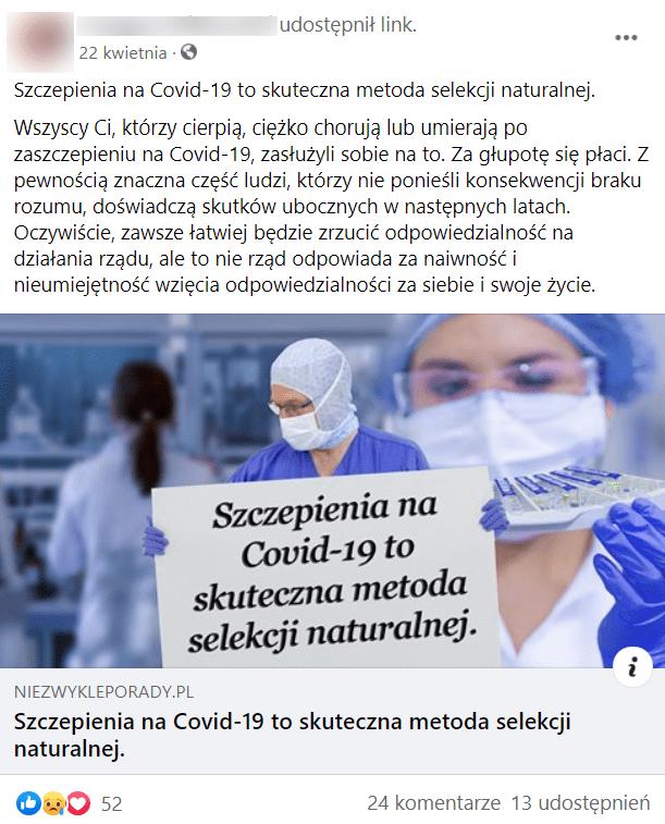 """Wpis naFacebooku złączem doartykułu opatrzonego zdjęciem lekarza trzymającego kartkę zwklejonym wprogramie doobróbki grafiki napisem: """"Szczepienia naCovid-19 to skuteczna metoda selekcji naturalnej"""". Nawpis zareagowało ponad 50 osób ipojawiło się ponad 20 komentarzy."""