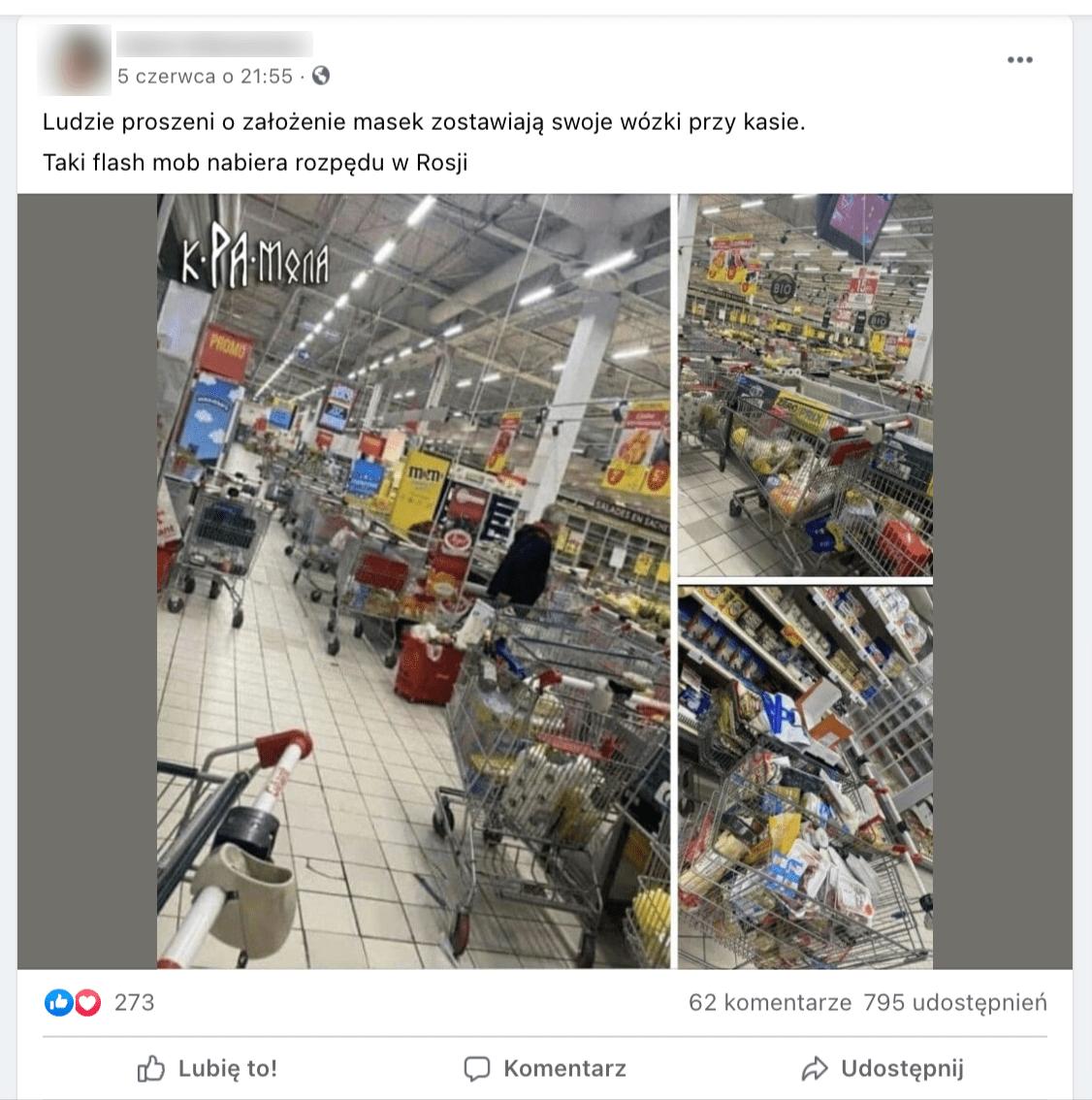 Zrzut ekranu zFacebooka. Post użytkownika ilustrują trzy zdjęcia, naktórych widzimy wózki pełne zakupów porzucone wmarkecie spożywczym