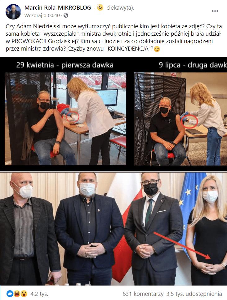 Zrzut ekranu wpisu naFacebooku naprofilu Marcin Rola-MIKROBLOG, wktórym sugerowano, żena trzech zdjęciach obecna jest ta sama kobieta, co miałoby świadczyć otym, żerząd manipuluje społeczeństwem wtym zakresie.