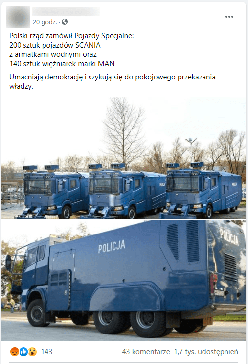 Zrzut ekranu jednego zomawianych postów naFacebooku. Dołączono doniego zdjęcia wymienionych winformacji pojazdów.