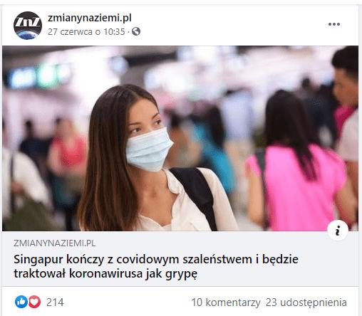 Zrzut ekranu zomawianym artykułem. Jest ozilustrowany zdjęciem kobiety wmaseczce, ubranej wjasną bluzkę. Wtle widzimy rozmazany tłum ludzi.