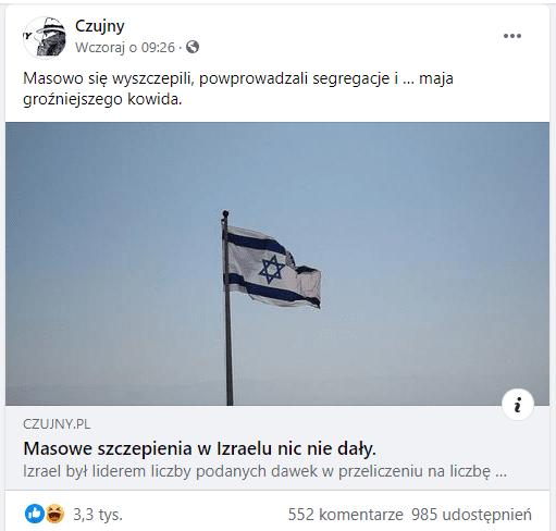 Zrzut ekranu zomawianym postem. Udostępnionym link zilustrowany jest zdjęciem flagi Izraelskiej natle błękitnego nieba.
