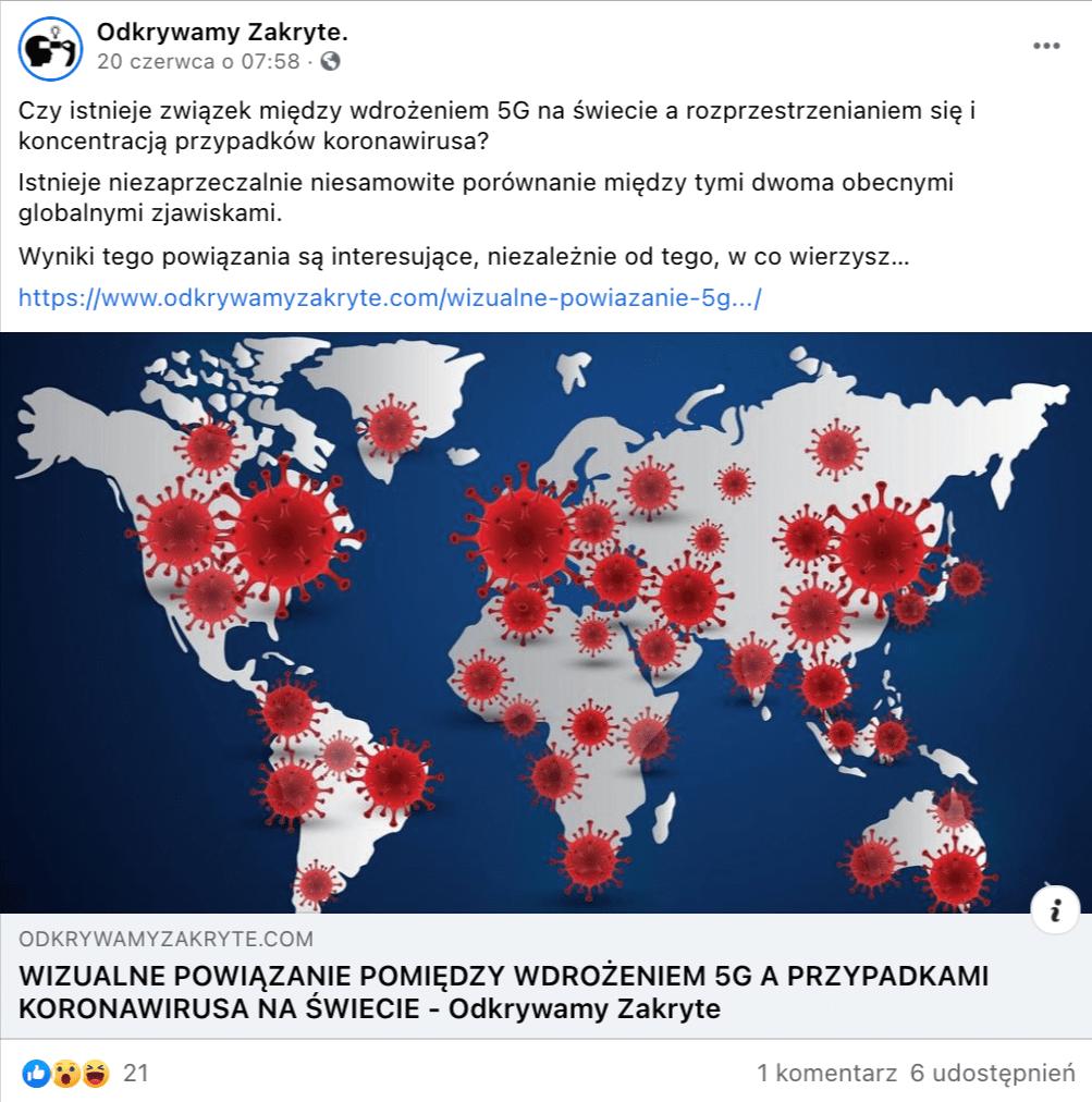 """Zrzut ekranu posta zprofilu facebookowego """"Odkrywamy Zakryte."""". Doposta załączony został artykuł rozwijający tę teorię, ze zdjęciem mapy świata zzaznaczonymi ogniskami COVID-19 wformie czerwonych koronawirusów."""