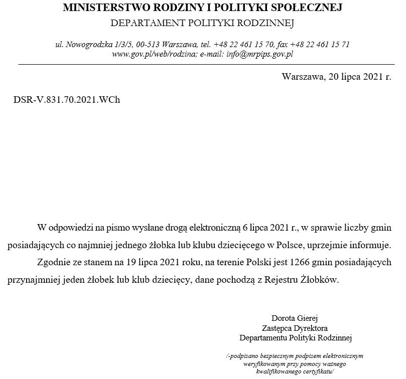 Odpowiedź ministerstwa - żłobki
