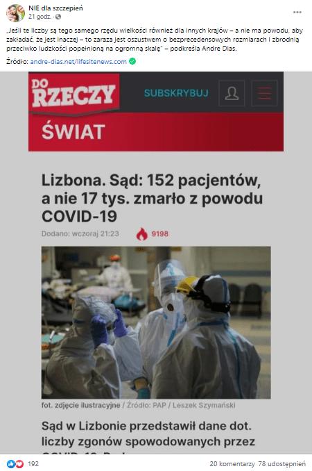 """Zrzut ekranu posta naFacebooku, przedstawiający artykuł ze strony internetowej tygodnika """"Do Rzeczy"""" pt. """"Lizbona. Sąd: 152 pacjentów, anie 17 tys. zmarło zpowodu COVID-19"""", zazdjęciem przedstawiającym lekarzy wkombinezonach, maskach iprzyłbicach."""
