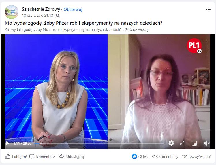 Zrzut ekranu zprofilu facebookowego Szlachetnie Zdrowy zkadrem zwywiadu zKatarzyną Ratkowską. Ekran podzielony jest napół. Polewej stronie widzimy dziennikarkę przeprowadzająca wywiad siedzącą zaszklanym stołem naniebieskim tle. Poprawej, natle komody zksiążkami, siedzi Katarzyna Ratkowska: ma nasobie białą bluzkę, okulary isłuchawki.