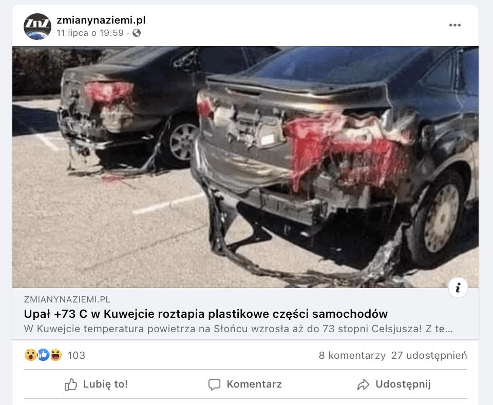 Zrzut ekranu zFacebooka. Link dotekstu odsyłającego doartykułu wserwisie Zmianynaziemi.pl. Widzimy grafikę przedstawiającą dwa samochody, których tylna część karoserii została stopiona.