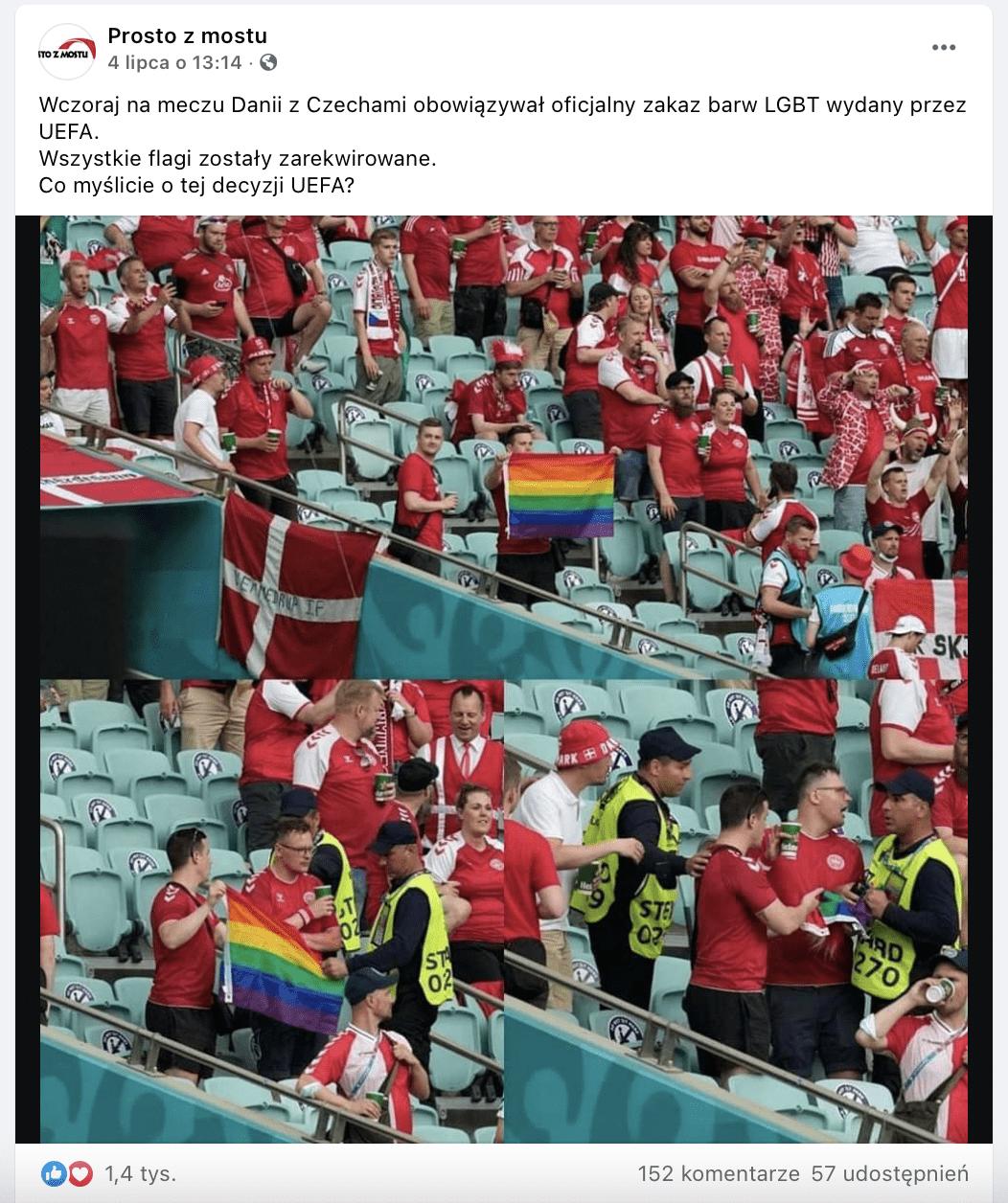 Zrzut ekranu zFacebooka. Nazdjęciach widzimy duńskich kibiców, którym stewardzi zabierają flagę LGBT.