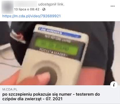 Analizowany post naFacebooku