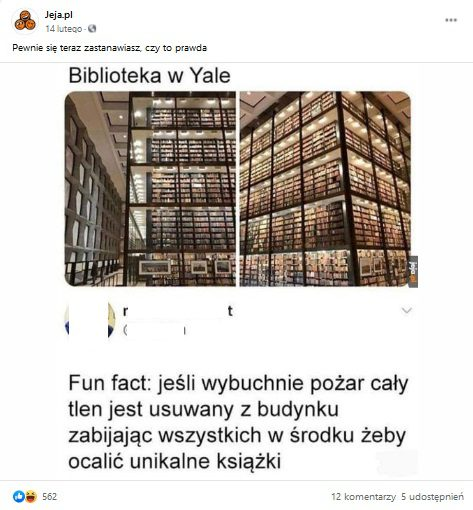 Zrzut ekranu opublikowanego posta