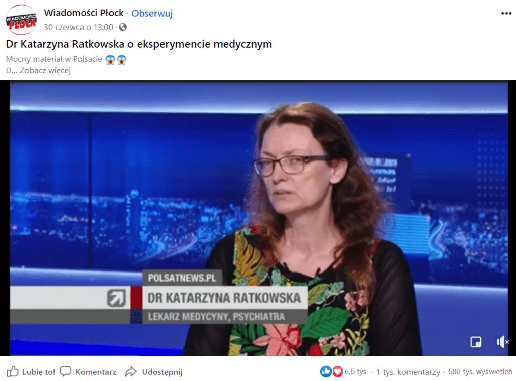 Zrzut ekranu wpisu naFacebooku naprofilu Wiadomości Płock. Napisano wnim:
