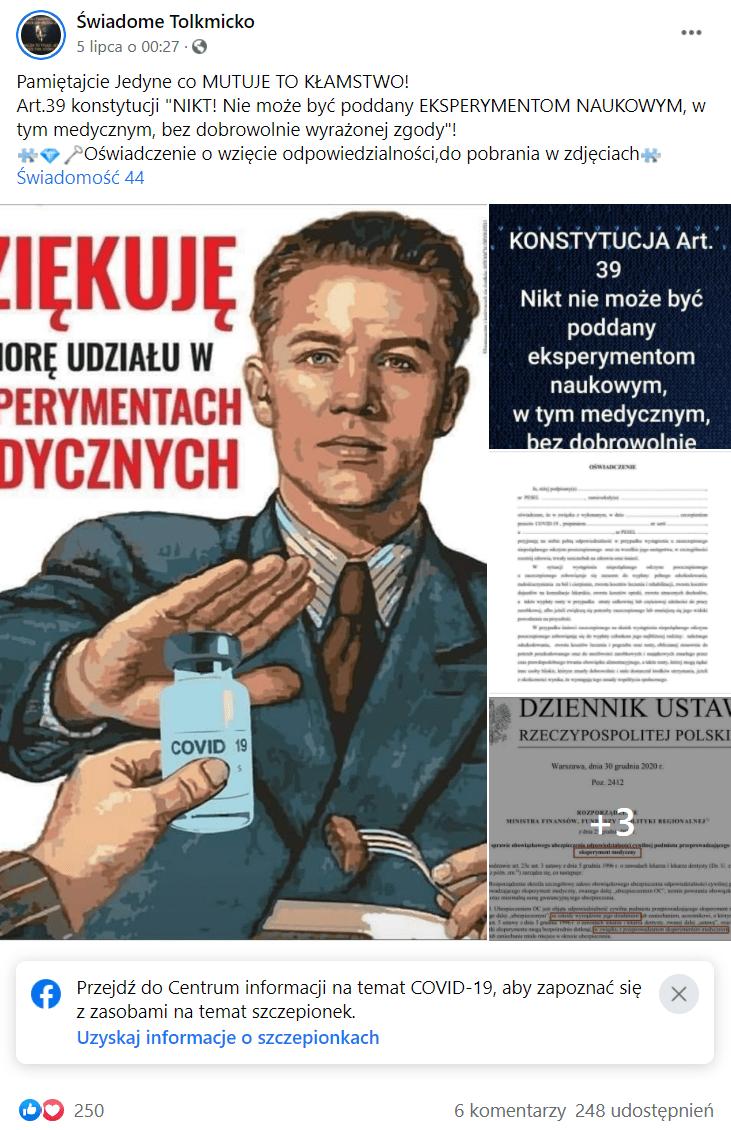 """Zrzut ekranu przedstawiający wpis nafacebookowym profilu Świadome Tolkmicko, który opublikowano 5 lipca 2021 roku. Dowpisu dołączono kilka grafik; jedna znich - ta najbardziej wyróżniająca się - przedstawiała mężczyznę wgarniturze, który odmawia przyjęcia szczepionki przeciw COVID-19, gdyż, jak to ujął, jest to """"eksperyment medyczny"""". Inne grafiki przedstawiają fragmenty ustawy idokumentów."""