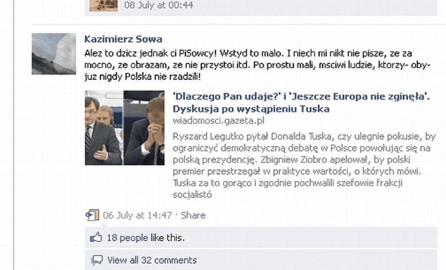 Zrzut ekranu komentarza ks. Sowy doartykułu oDonaldzie Tusku