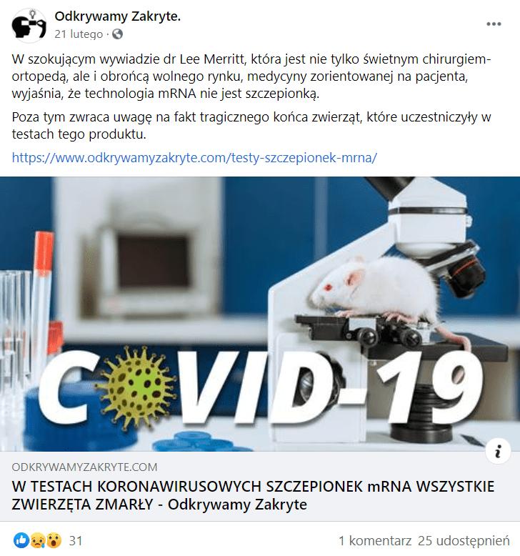 Wpis nafacebookowym profilu Odkrywamy Zakryte wraz zdołączonym odnośnikiem doartykułu, który opatrzono okładką, gdzie widoczny jest duży napis COVID-19 (zamiast litery owstawiono żółtego wirusa) natle laboratorium, poktórym biega mysz.