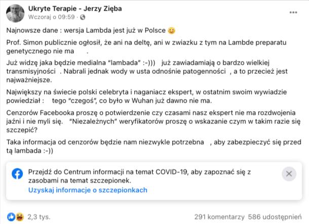 Zrzut ekranu, który przedstawia wpis naprofilu Ukryte Terapie - Jerzy Zięba. Nawpis zareagowało ponad 2,2 tys. użytkowników, aponad 560 udostępniło go naswoich profilach.