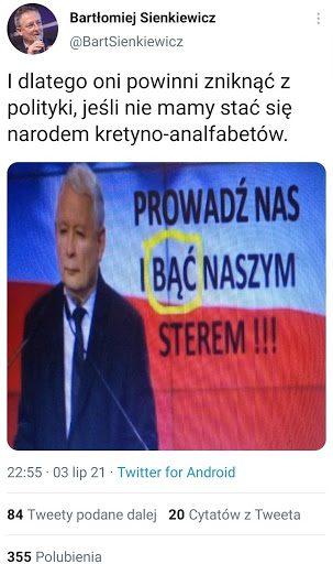Usunięty przezB. Sienkiewicza tweet zfałszywym obrazkiem