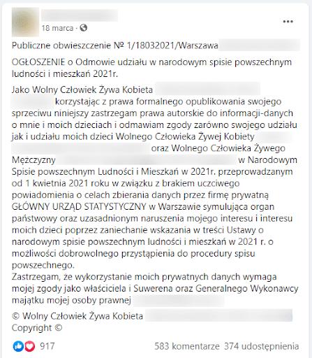 Zrzut ekranu zpostem zoświadczeniem odmowy wzięcia udziału wSpisie Powszechnym. Nawpis zareagowało aż 900 osób, a374 kolejne udostępniło go naswoich tablicach.