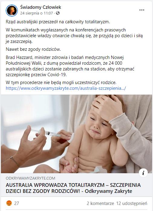 Zrzut ekranu jednego zpostów, które udostępniły dalej artykuł zportalu Odkrywamy zakryte. Post zilustrowany jest zdjęciem szczepionego płaczącego dziecka, trzymanego przezdorosłego, którego twarzy nie widać.