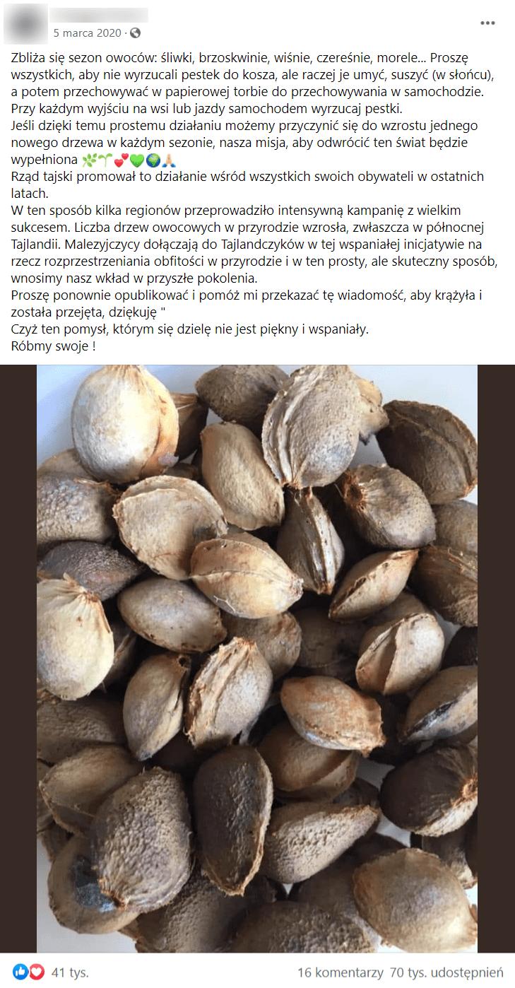 Zrzut ekranu posta naFacebooku, wktórym zachęcano dosadzenia nasion drzew owocowych. Poniżej dołączono zdjęcie przedstawiające pestki pozjedzonych owocach.