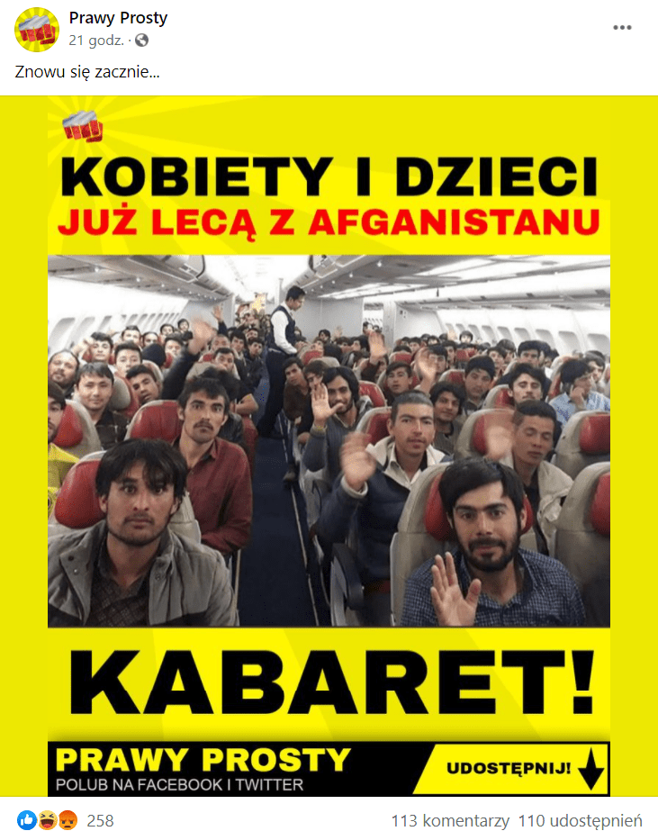Zrzut ekranu wpisu naFacebooku, wktórym zamieszczono zdjęcie samolotu wypełnionego migrantami zAfganistanu. Zdjęcie opatrzono podpisem: