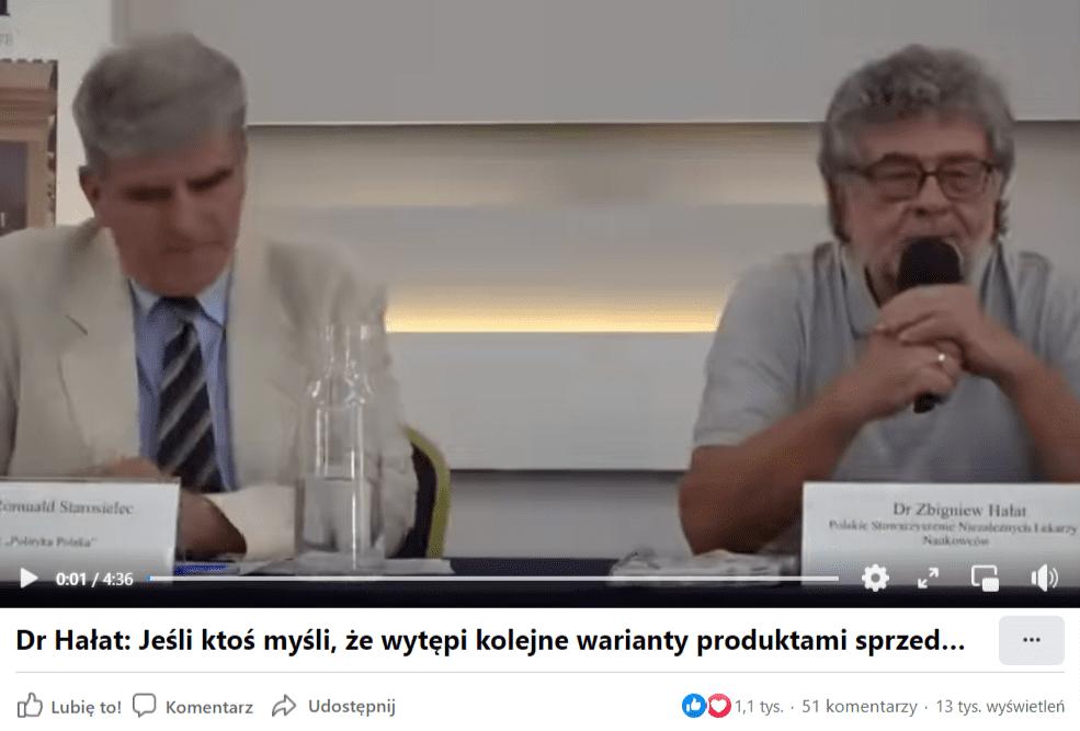 Zrzut ekranu zFacebook Watch zujęciem naprzemawiającego dopubliczności Zbigniewa Hałata widoczego poprawej stronie ijednego zprowadzących debatę polewej stronie obrazu. Nafilm zareagowało ponad 1,1 tys. osób, a13 tys. wyświetliło go.