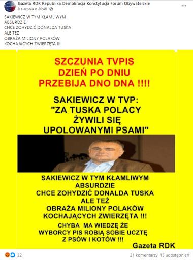 Zrzut ekranu posta naFacebooku, przedstawiający Tomasza Sakiewicza, ubranego wjasnoniebieską koszulę ibrązową marynarkę orazjego rzekomy cytat.