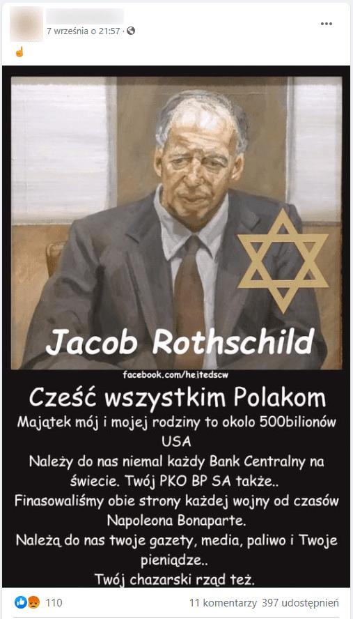 Zrzut ekranu posta naFacebooku. Jest on zilustrowany portretem Jacoba Rothschilda: starszego, łysiejącego mężczyzny wszarym garniturze ibordowym krawacie. Barwy są stonowane, tło jest biało-brązowe.
