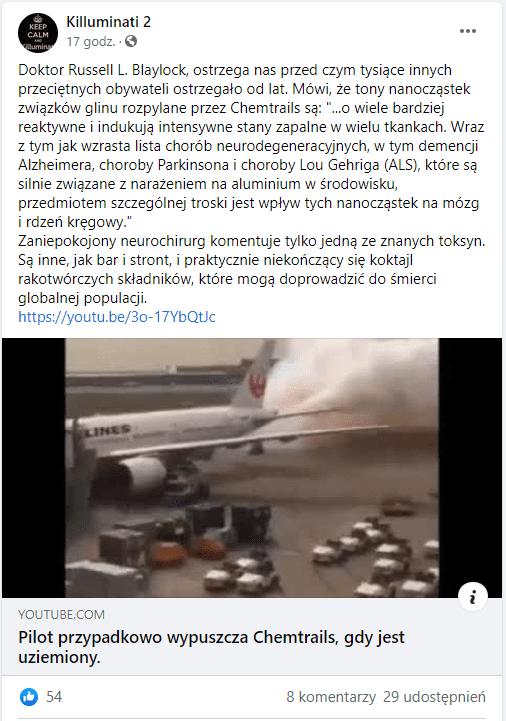 Zrzut ekrany posta naFacebooku, wktórym udostępniono wspomniany film. Kadr pokazuje samolot napłycie lotniska, zktórego wylatuje jasna chmura. Pojazd otoczony jest samochodami iciężarówkami.