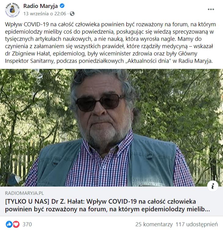 Wpis Radia Maryja naFacebooku, wktórym odsyłano dowywiadu ze Zbigniewem Hałatem. Wywiad opatrzono zdjęciem Zbigniewa Hałata znajdującego się nawolnym powietrzu. Nawpis zareagowało ponad 300 osób, aponad 100 udostępniło go.