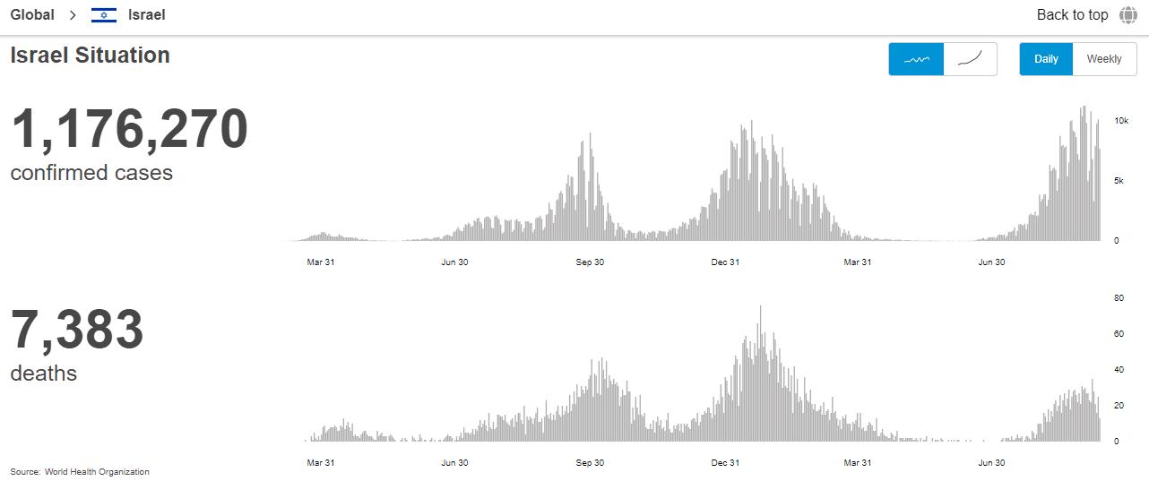 Zrzut ekranu zwykresami pokazującymi liczbę zakażeń izgonów zpowodu COVID-19 od początku pandemii.