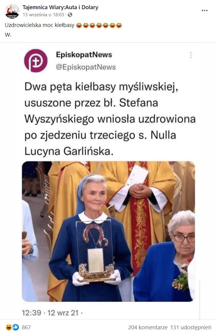 """Zdjęcie podwpisem naFacebooku. Przedstawia rzekomy wpis Konferencji Episkopatu Polski (KEP), wktórym zamieszczono zdjęcie relikwiarza z""""kiełbasą"""". Nawpis zareagowało ponad 860 osób, a131 udostępniło go."""