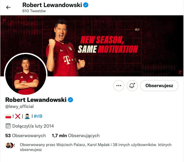 Zweryfikowany profil Roberta Lewandowskiego naTwitterze
