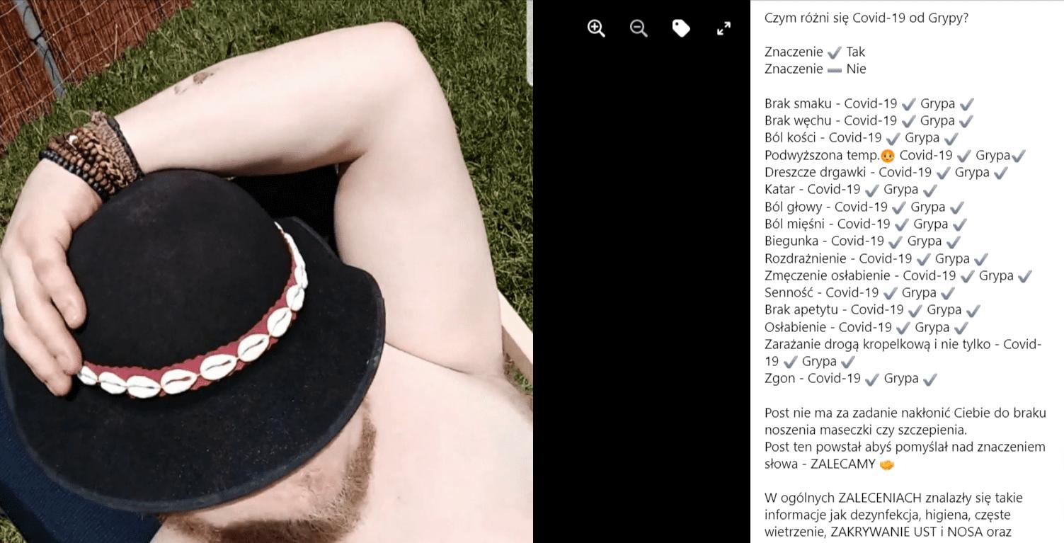 Zdjęcie towarzyszące postowi naFacebooku. Znajduje się nanim Artur Bacowski siedzący nakrześle wogrodzie. Jego głowa przykryta jest czapką wtaki sposób, żewidoczna jest jedynie jego broda.
