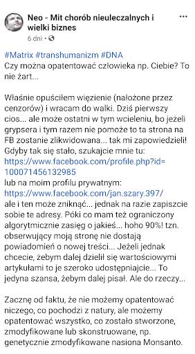 Zrzut ekranu fragmentu postu opublikowanego nafanpage'u Neo - Mit chorób nieuleczalnych iwielki biznes.
