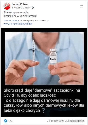 Zrzut ekranu omawianego posta naFacebooku. Jest on zilustrowany zdjęciem, naktórym mężczyzna wjasnoniebieskim polo trzyma fiolkę zinsuliną istrzykawką. Podspodem, białymi literami naczarnym tle znajduje się napis, który zacytowaliśmy wyżej.