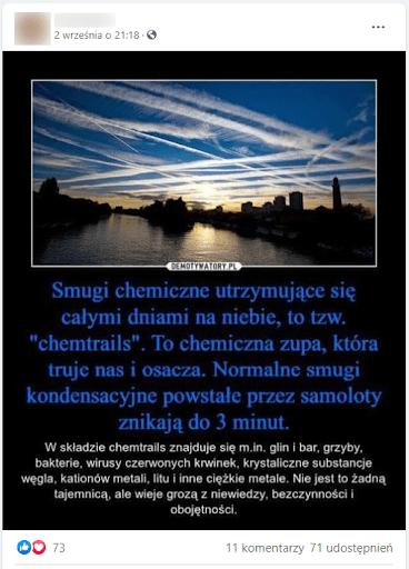 Obrazek przedstawia miasto nadwodą. Błękitne niebo pokryte smugami kondensacyjnymi.