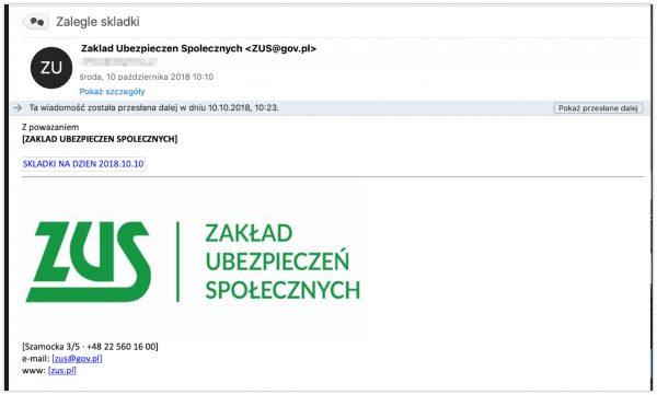 Mail wysłany przezoszustów przypominający wiadomość od Zakładu Ubezpieczeń Społecznych