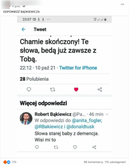 Wpis naFacebooku zawierający komentarz fałszywego konta podszywającego się podRoberta Bąkiewicza