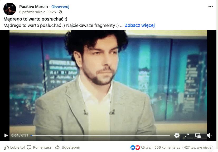 """Wpis naFacebooku zawierający fragmenty programu """"Gość Wydarzeń"""", emitowanego naantenie Polsatu."""