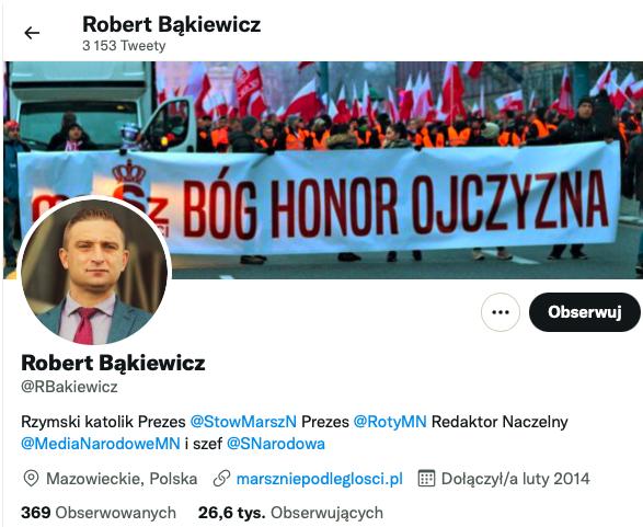 Profil Roberta Bąkiewicza naTwitterze