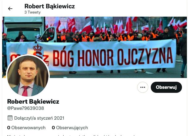 Profil fałszywego konta podszywającego się podRoberta Bąkiewicza