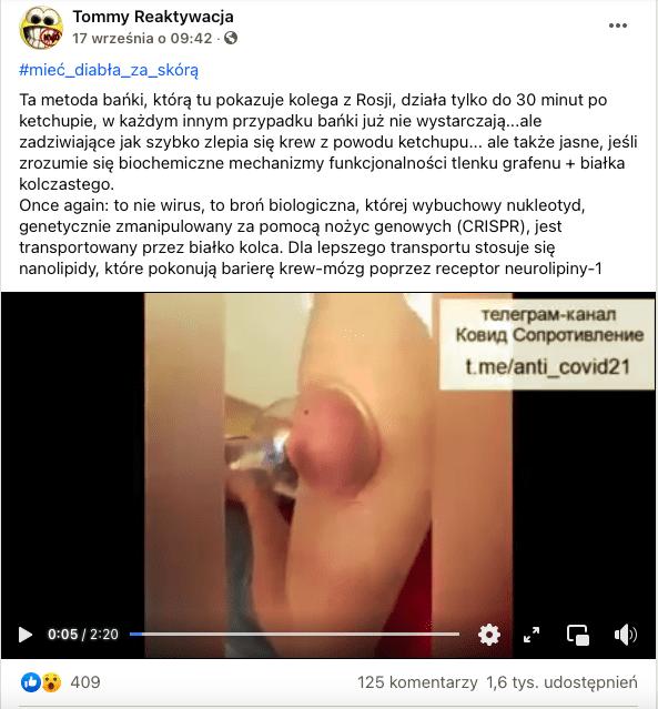 Wpis naFacebooku wraz znagraniem procedury domniemanego usuwania szczepionki zapomocą bańki